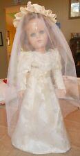 Vintage R & B Arranbee Blue glass Eye Composition Wedding Doll Original Original