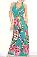 ABITO LUNGO donna AZZURRO VERDE ROSA vestito da sera elegante sexy strass E170