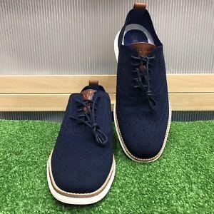 Cole Haan Men's Original Grand Stitchlite Wingtip Shoes Navy Ivory C27960 Sz 9.5