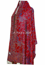 Gorgeous Pashmina & Silk Shawl-Red.Blue#A