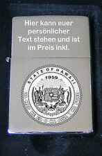 Hawaii USA Emblem Feuerzeug als Bildgravur inkl Textgravur auf dem Deckel