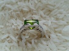 Beautiful Real Platinum Sterling Silver Ring Green CZs Solid Silver Size 6.5 C95
