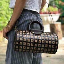 Women Straw woven Handmade Brown Beige Sachel Shoulder Bag Woven Barrel Handbag