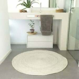 Rug Natural Jute White Color Reversible Braided Strip style Rug Area Carpet Rug