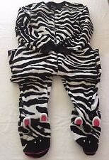 Medium Nick & Nora Pajamas Zebra One Piece Footed PJs Fleece Footie Womens Sz M