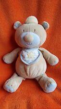 "Manhattan Baby Teddy Bear Blue Spotty Star Bib 12"" Soft toy Plush Comforter"