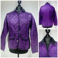 Womens Barbour Vintage Quilt Jacket Size 16 Purple Collared Snap Buttoned