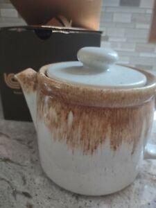 Vintage McCoy Pottery Co. Graystone Speck Brown Drip Ceramic 1418 teapot Tea Pot