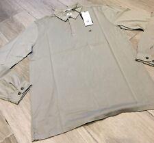 C.P. Company Long Sleeve Mako Cotton Jersey Polo Shirt in Light Olive BNWT Small