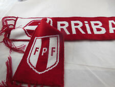 "PERU ARRIBACountry Flag FPF Logo SCARF KNIT double fabric NICE 48"" X 5"" + fringe"
