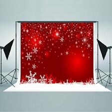7x5ft Red Christmas Background Wall Christmas Snowflake Backdrop Photography