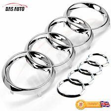 CHROME GRILL & REAR BADGE EMBLEM RINGS AUDI a1 a3 a4 a5 s3 rs quattro sline sgs