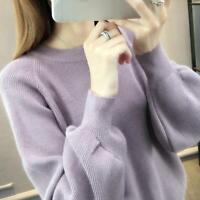Women Knit Sweater Shirt Pullover Jumper Puff Sleeve Crew Neck Tunic Top Blouse