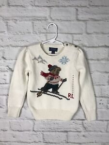 NEW Polo Ralph Lauren Girls Cream Skiing Bear Sweater Size 5