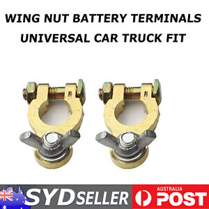 Pair Automotive Marine Battery Terminal Wing Nuts Soild Easy Install Replacement