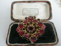 VINTAGE 1950s RUBY RED PINK FACETED CRYSTAL RHINESTONE  BROOCH SHAWL PIN