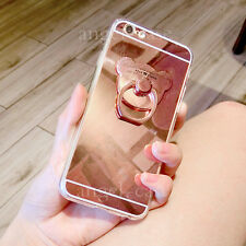 3D Cute Chrome Acrylic Mirror Metal Bear Ring Holder Stand Back Phone Case Cover