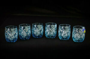 Set of 6 Blue Cut Crystal Vodka Liquor Shot Glass 35ml - 1.2oz Glass Hand Made