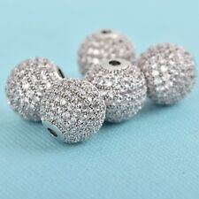 1 Silver Micro Pave' Round Bead w/ Cubic Zirconia Crystals, 12mm, bme0423