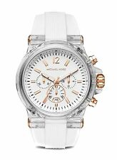 NEW Michael Kors MK8577 Men's Dylan Rose Gold White Silicone Chronograph Watch