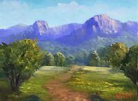 Virgin rock, Springsure, QLD Oil on linen board Australian landscape Vidal