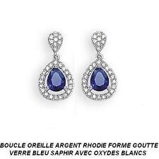 Boucle Oreille Rhodié Goutte 20mm Sertie d'un Saphir Cz Argent 925 Dolly-Bijoux