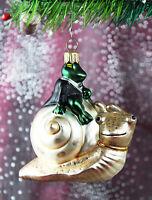coller Frosch auf Schnecke Weihnachtsbaumschmuck Christbaumschmuck Lauscha 55E1