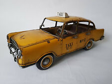 NEW YORK CITY TAXI CAB Large Yellow Tin Plate Hand Painted EXCELLENT CONDITION