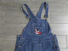 vtg DISNEY Overalls MICKEY MINNIE MOUSE Denim Jeans XL Blue Oversized