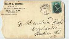 US EARLY 3c PRES. WASHINGTON W/ THICK BLACK CACHET ON COVER TO MADISON COLORADO