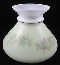 """Vintage 7"""" Opal Glass Lamp Shade Harvard Slant Style Light Yellow Floral Antique"""