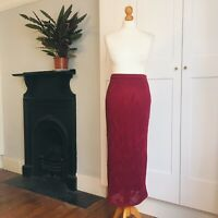 Vintage 90s Dark Red Crochet Knit Leaf Pattern Long Winter Skirt 8 10