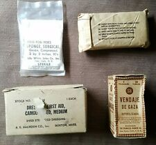 Lot of 4 misc US Military Medic Supplies Camouflagued Gauze, Dressing and more