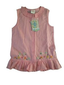 NEW W TAG COTTON PINK OILILY GIRLS SLEEVELESS EMBROIDERED Shirt Top 134 8-9