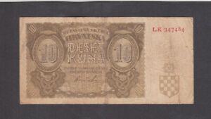 10 KUNA VG BANKNOTE FROM NAZI GOVERNMENT OF CROATIA 1941 PICK-5