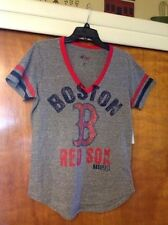Boston Redsox NLB Women's V-neck Rockwashed Sparkly Logo Shirt Size Small - NWT