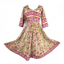 67a0b52b1c HANDMADE Multi Floral Indian Cotton Fit Flare Boho Hippy Ethnic Tea Dress M