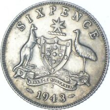 Better Date - 1943 Australia 6 Pence - SILVER *722