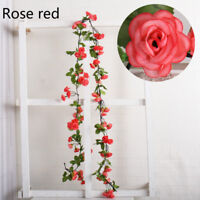 Garland Hanging Fake Flower Vine Rose Artificial Silk Party Wedding Decor Modern