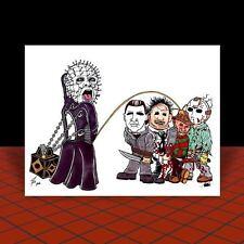 HELLRAISER artist signed POSTER ART, Doug Bradley, PINHEAD w/ puzzle box, horror