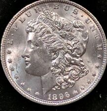1896 BU GEM+ MORGAN SILVER DOLLAR COIN.Beautiful surfaces from old collection.