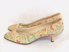 Vintage 60s Shoes Size 7 N Printed Floral Pumps Made in Italy Lord and Taylor