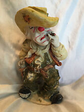Collectible Vintage Hand-Painted Rodeo Clown With Side Arm Gun & Cigar Figure