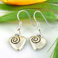 Cute New Tibetan Silver Spiral Engraved Heart Charm Dangle Drop Earrings