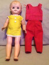"Vintage old Plastic girl Doll Sleepy eyes 15"" dress pants shirt 4281"