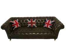 1 Luxury Contemporary Faux Tan Leather Italian Chesterfield Style Sofa Seats 3