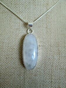 ~ Natural  Moonstone Gemstone Pendant & Silver Plated Chain ~ (MY23) ~
