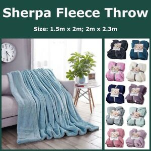 Solid Sherpa Throw Blanket Reversible Plush Micro Mink Faux Lambswool Berber