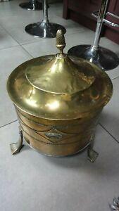 Vintage brass coal scuttle / bin with lid