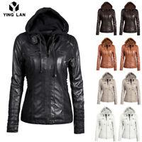 Womens Ladies Leather Hooded Jacket Slim Parka Coat Overcoat Warm Winter Outwear